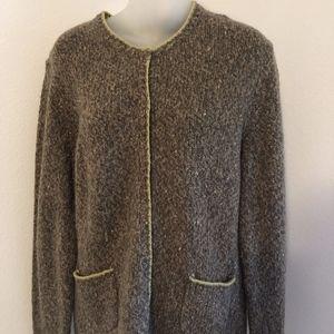 Talbots Wool Blend Tweed Cardigan Sweater